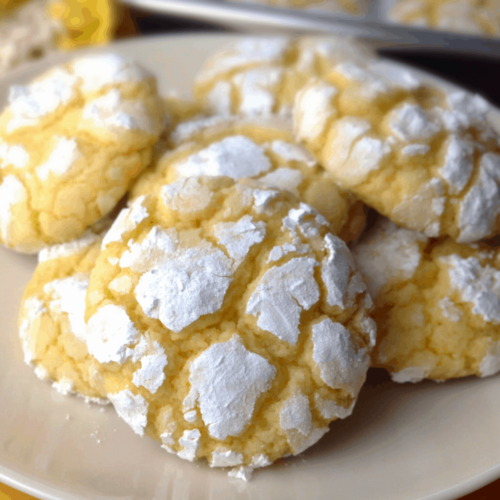 closeup oflemon cookies on a plate