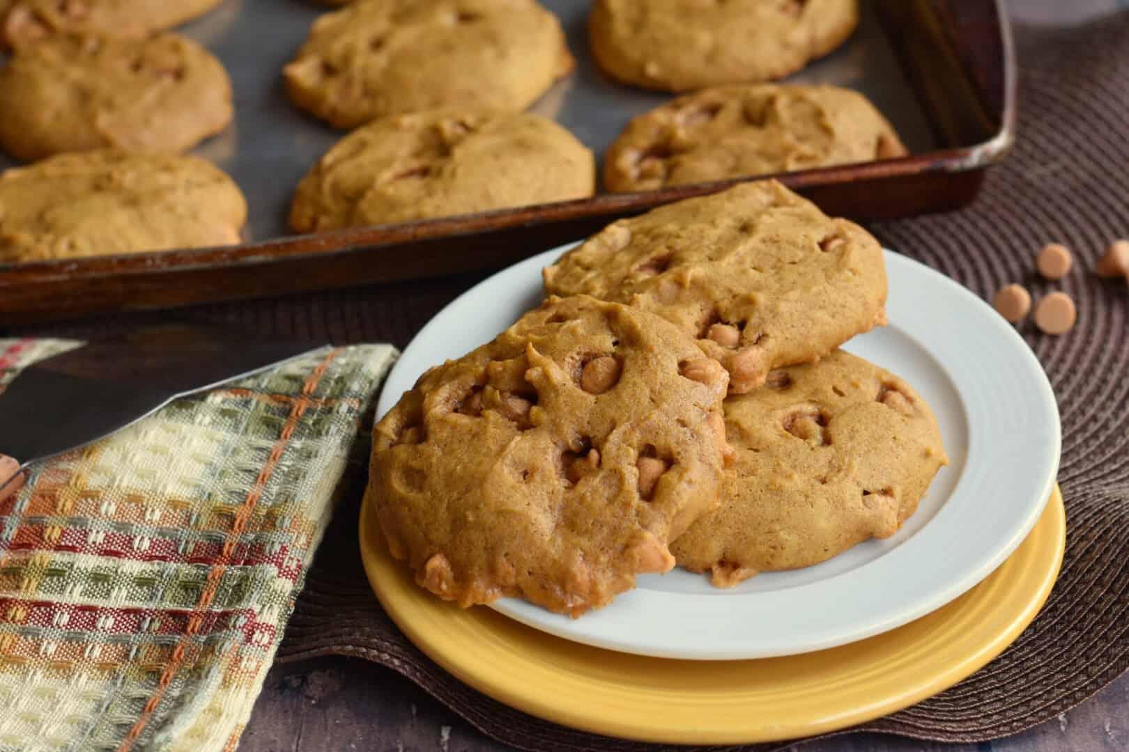 soft pumpkin cookies sitting on a platter
