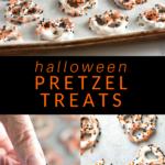 collage of halloween pretzel treats