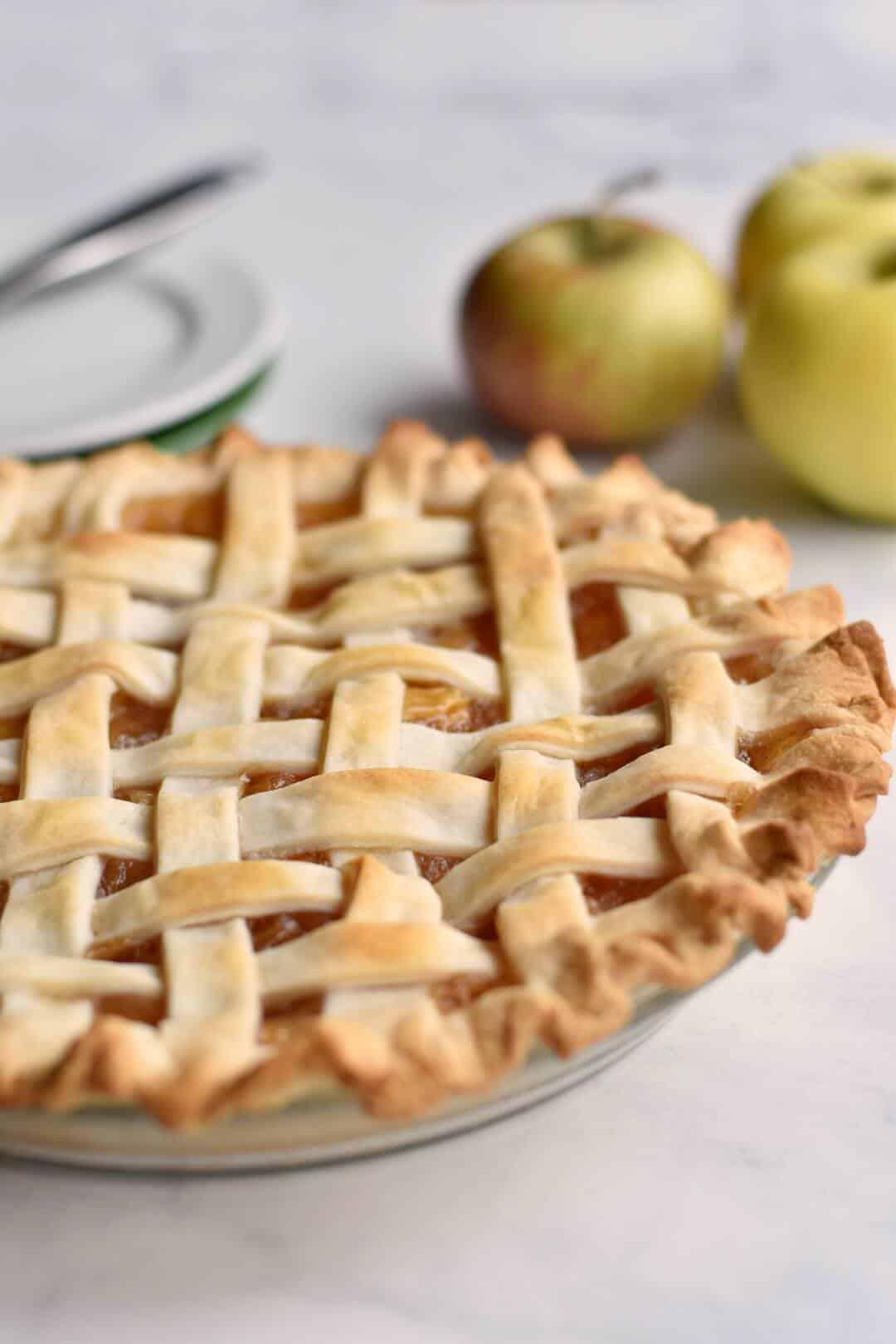 Closeup of homemade apple pie.