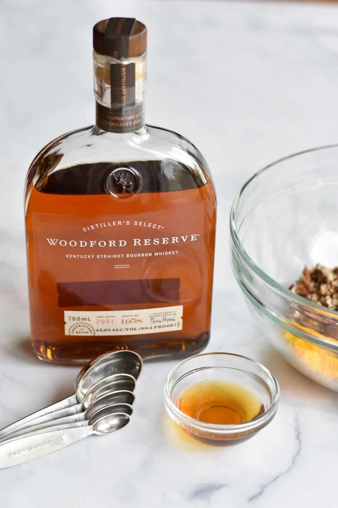 bottle of woodford reserve bourbon
