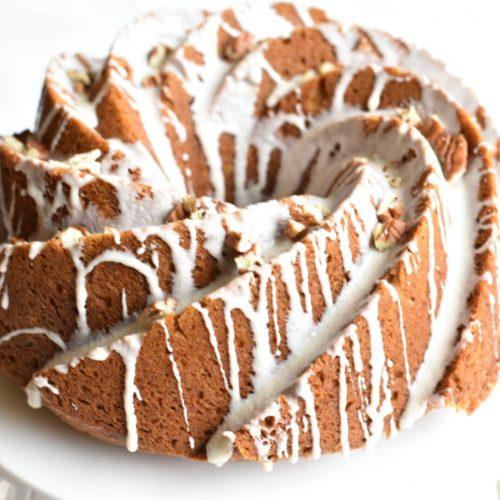 closeup of bundt cake on cake stand