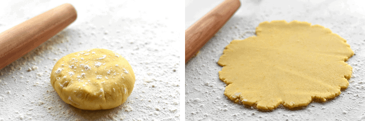 two picture of tart dough with rolling pin