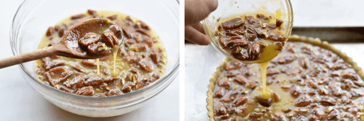two shots of pecan tart filling
