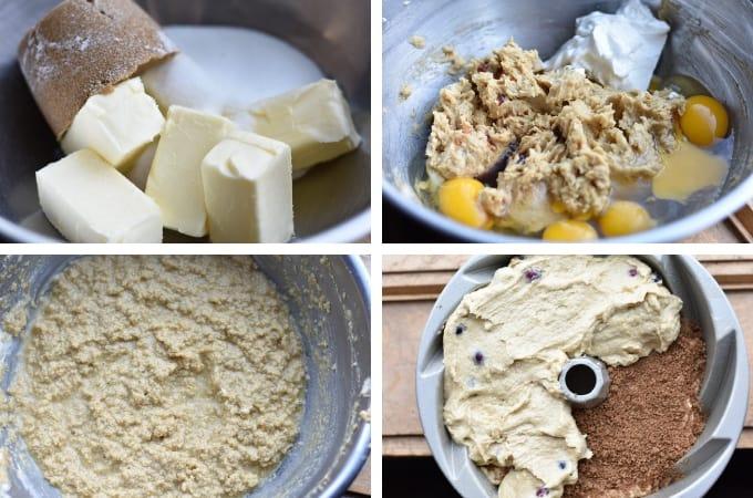 process shots of making the cranberry orange bundt cake batter