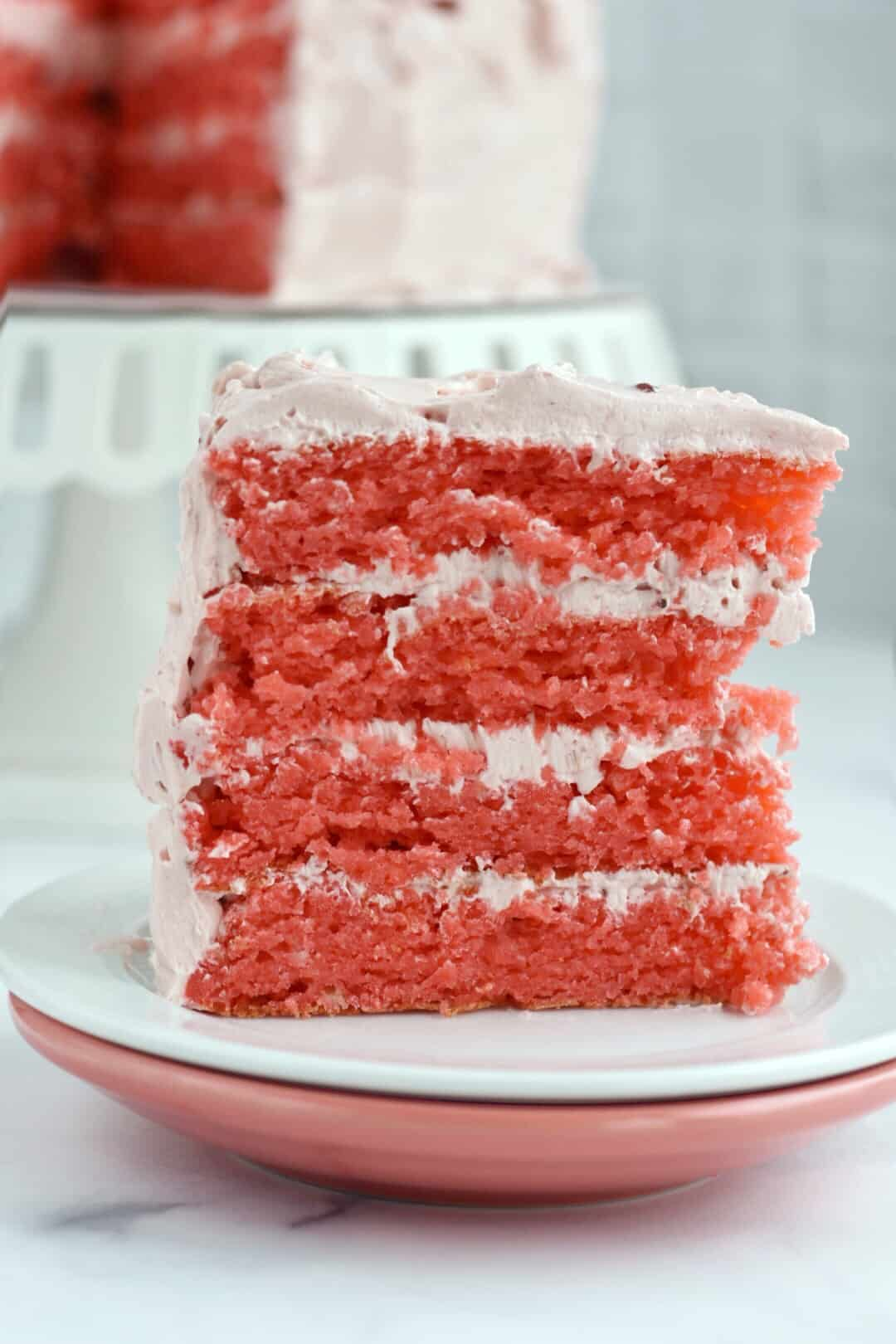 closeup of strawberry cake on plate