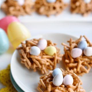 closeup up birds nest cookies on a plate