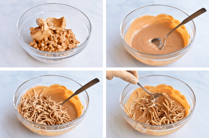 four-step process collage of melting butterscotch for birds nest cookies
