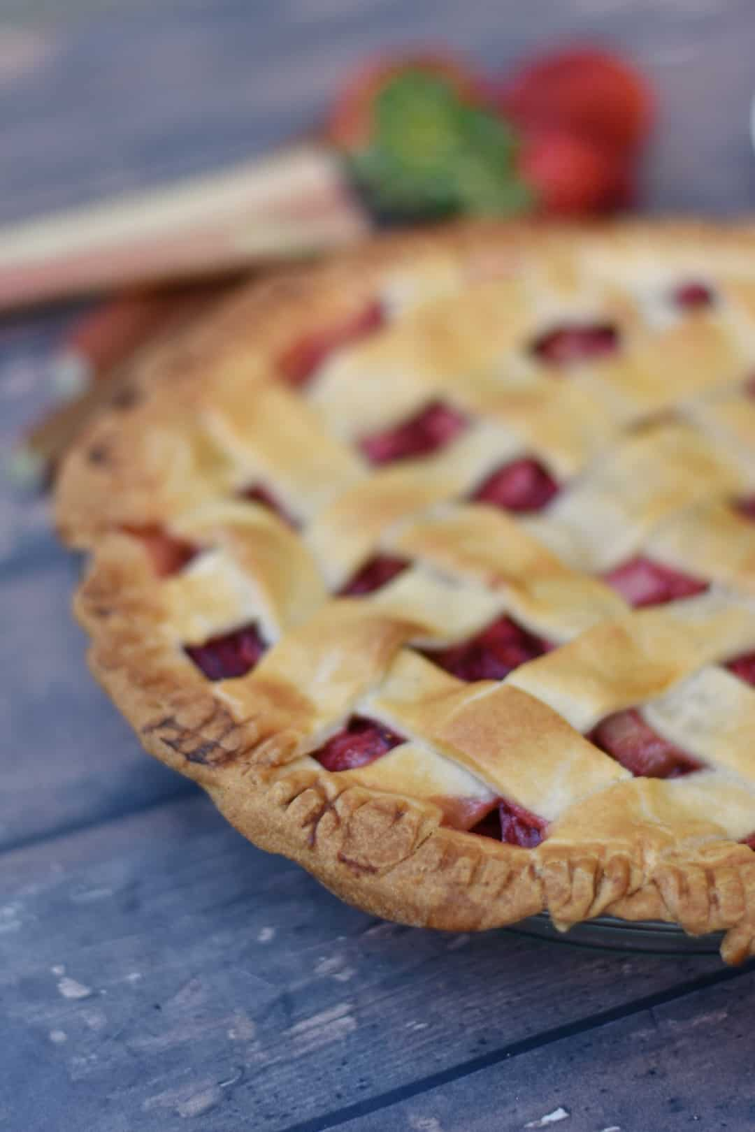 close up of strawberry rhubarb pie