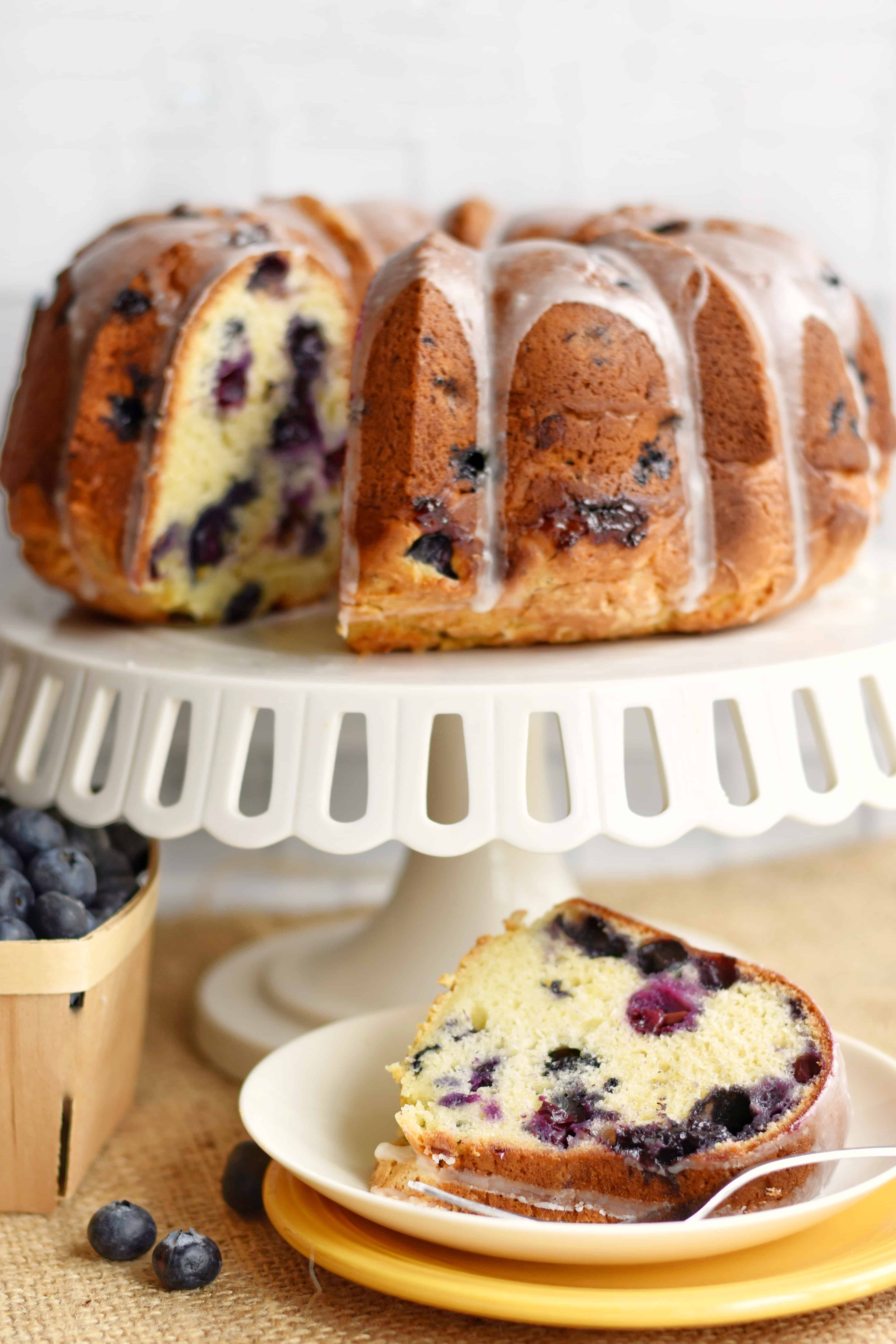 lemon blueberry cake with a slice and fork