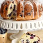closeup of lemon blueberry cake with a slice