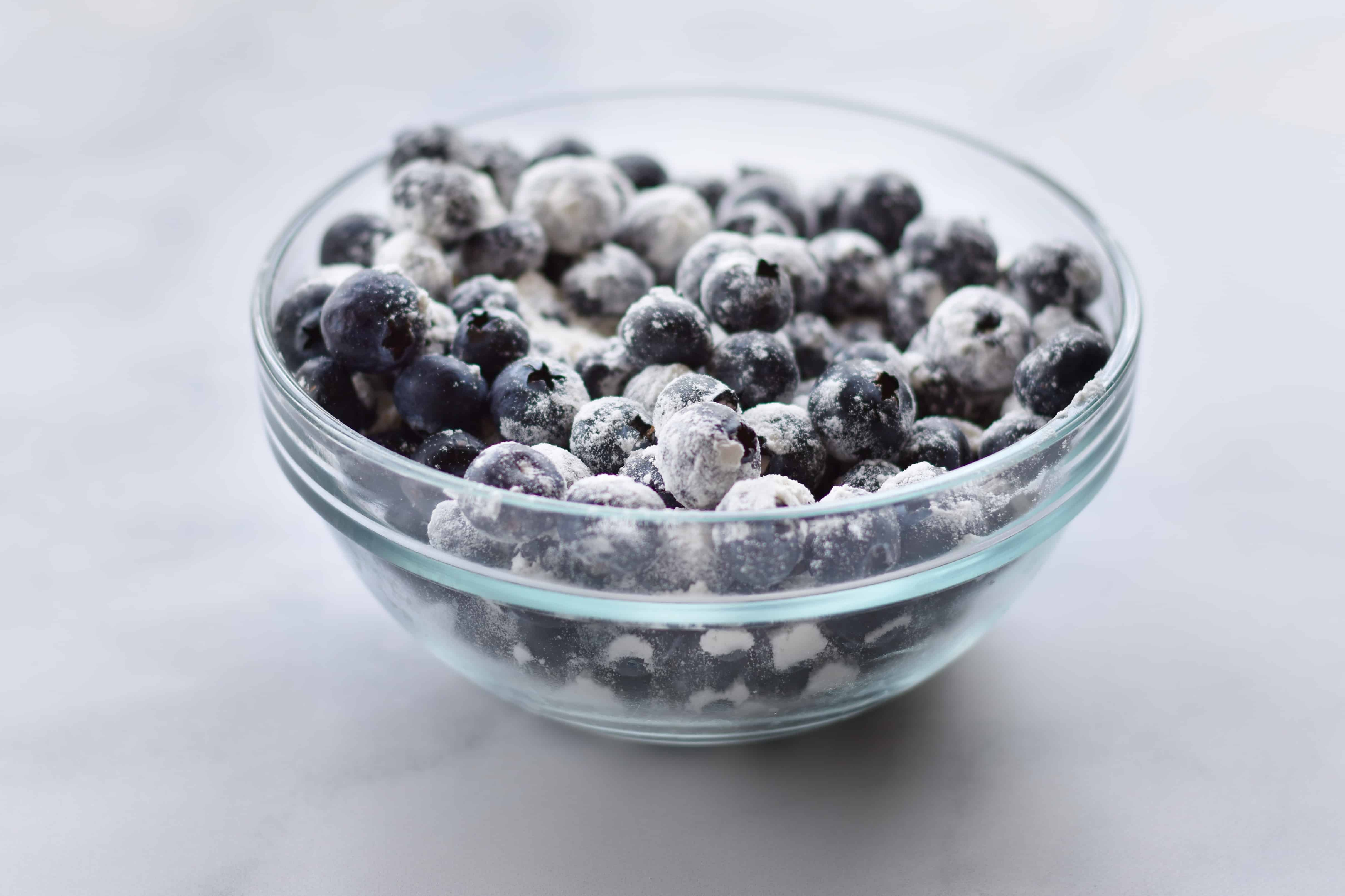 closeup of blueberries in a bowl