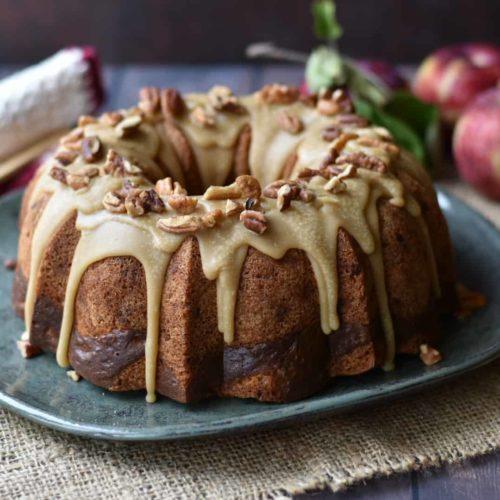 wide shot of apple praline cake on a platter