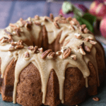 closeup of apple praline cake