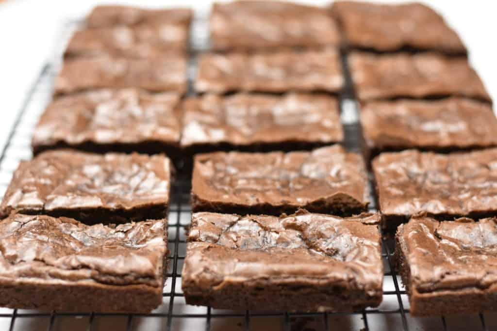 closeup of Irish cream brownies on a cooling rack
