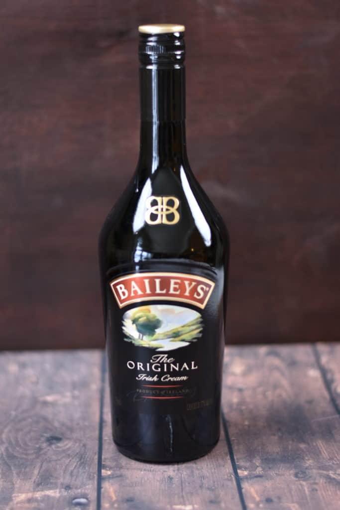 closeup of Bailey's Irish Cream for Irish cream brownies