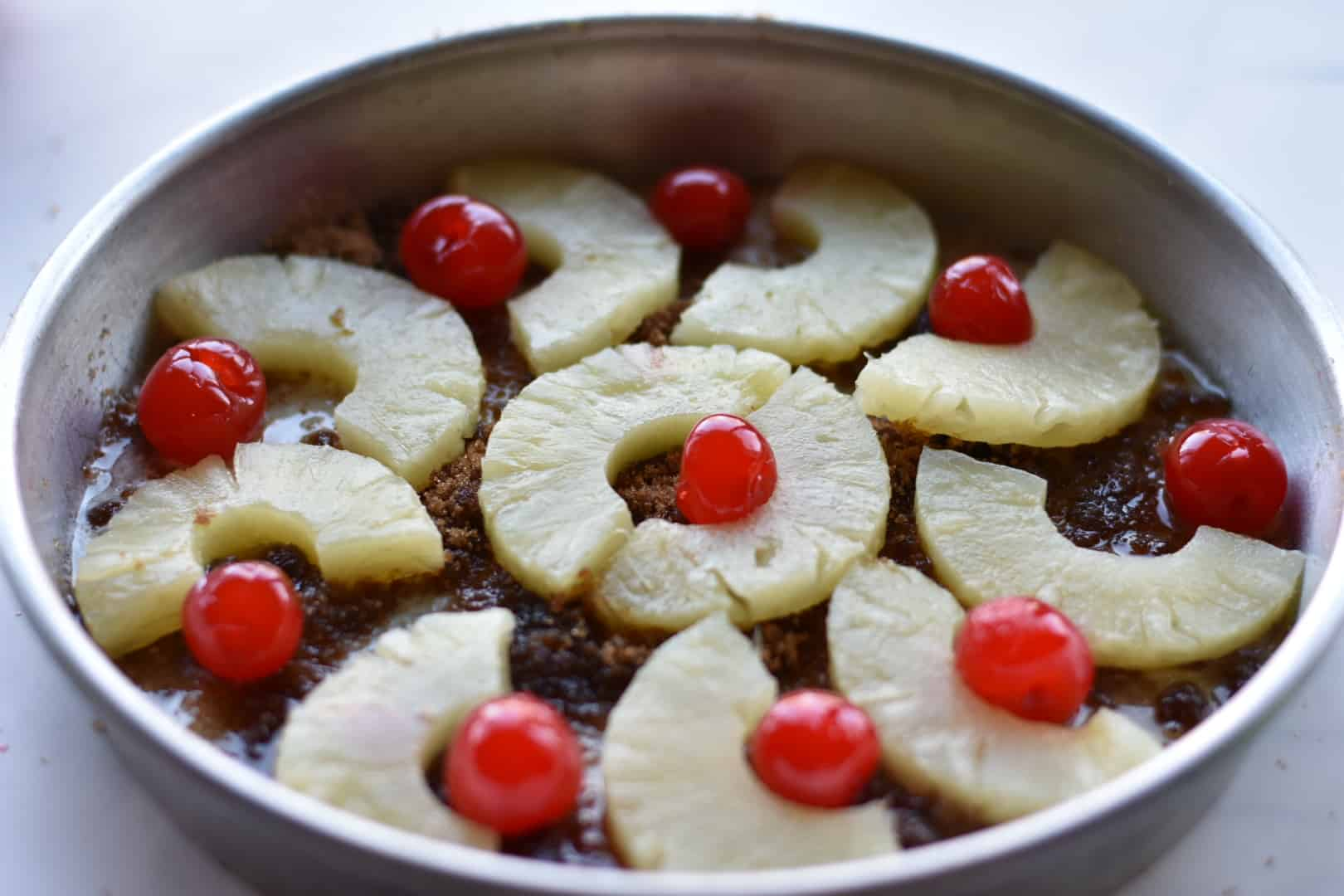 pineapple upside down cake before batter is added