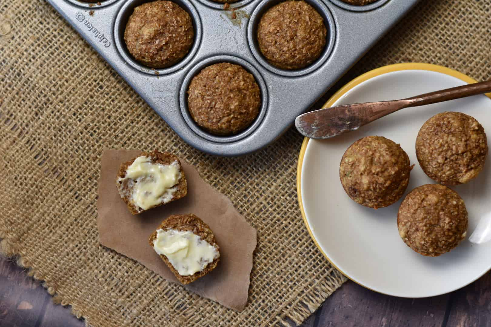 miniature bran muffins sitting on a plate
