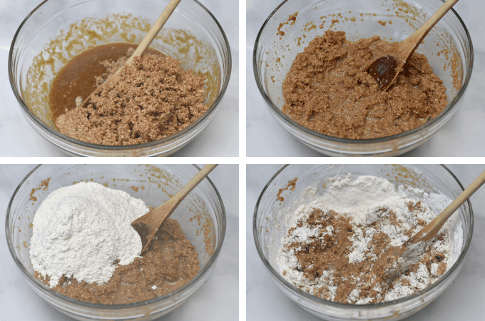 process shot of mixing wet and dry ingredients together for miniature bran muffins