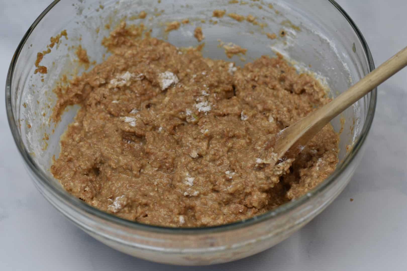 mixed batter for miniature bran muffins