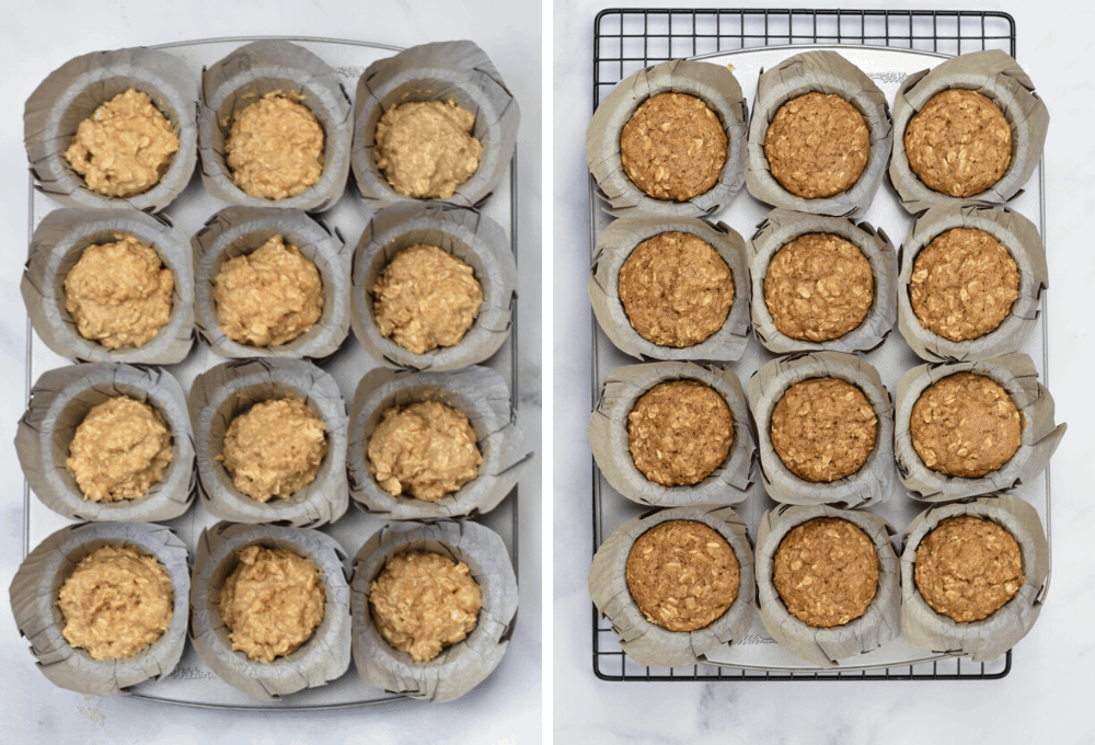 oatmeal applesauce muffins before and after going in the oven
