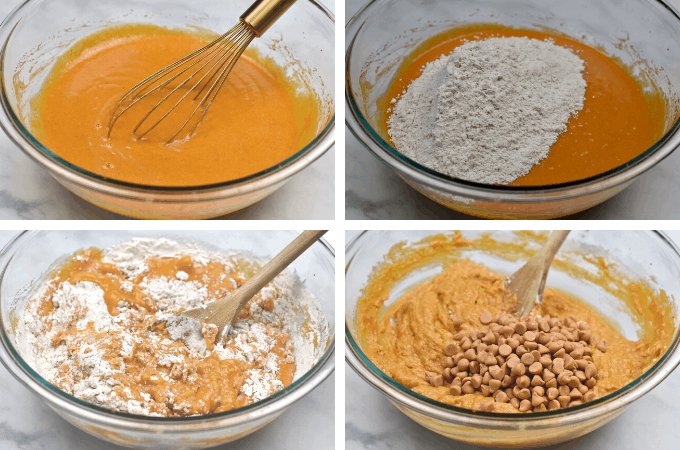 process shots of mixing the batter with flour and butterscotch chips