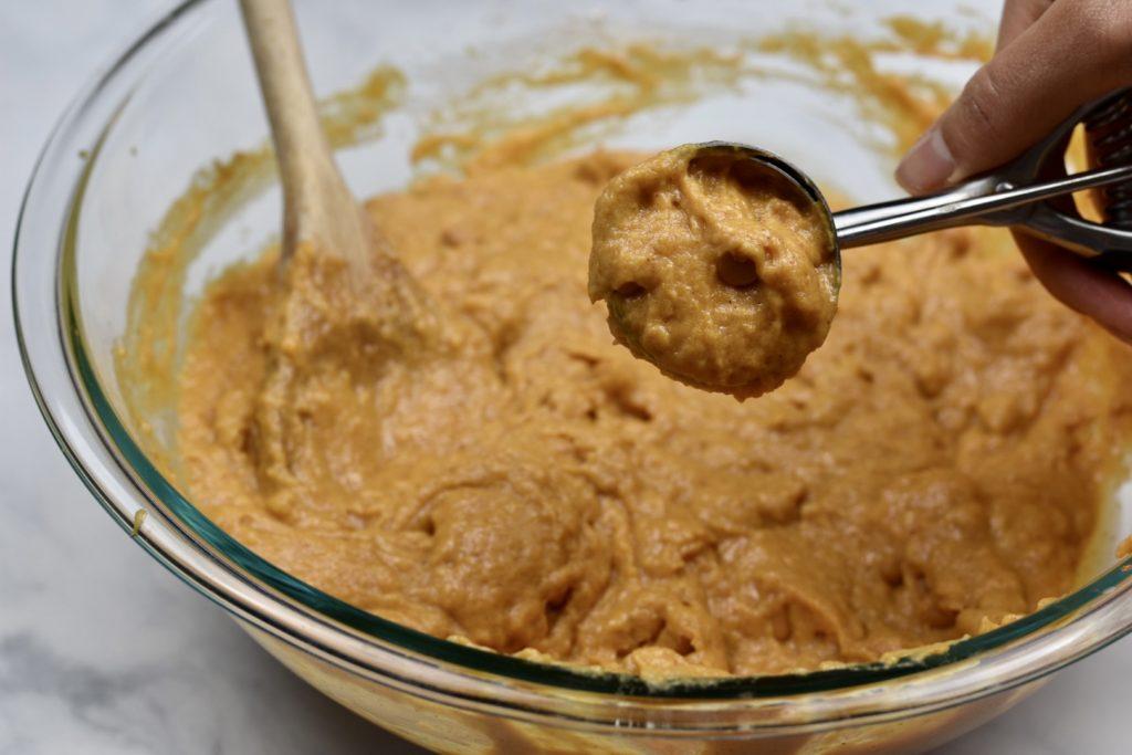 scoop of soft pumpkin cookie batter