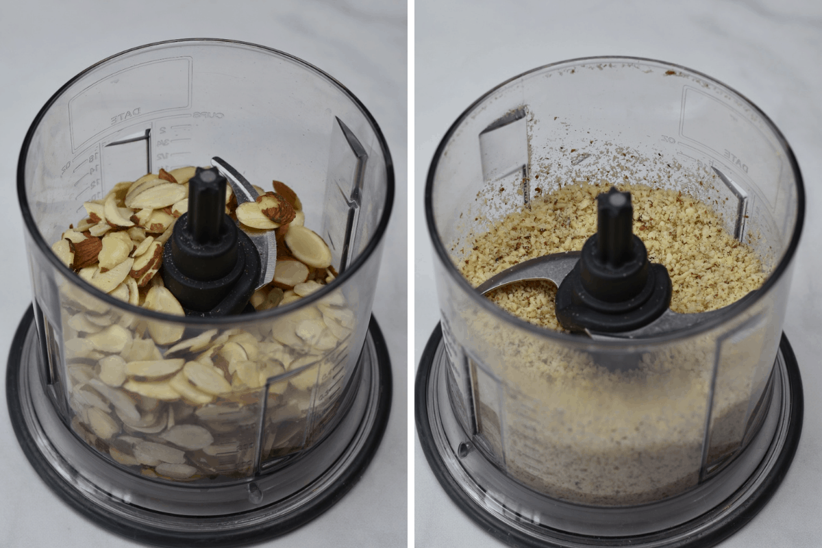 almonds ground in a food processor