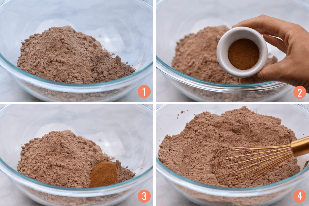 collage of four images showing mixing of dry ingredients for muffins