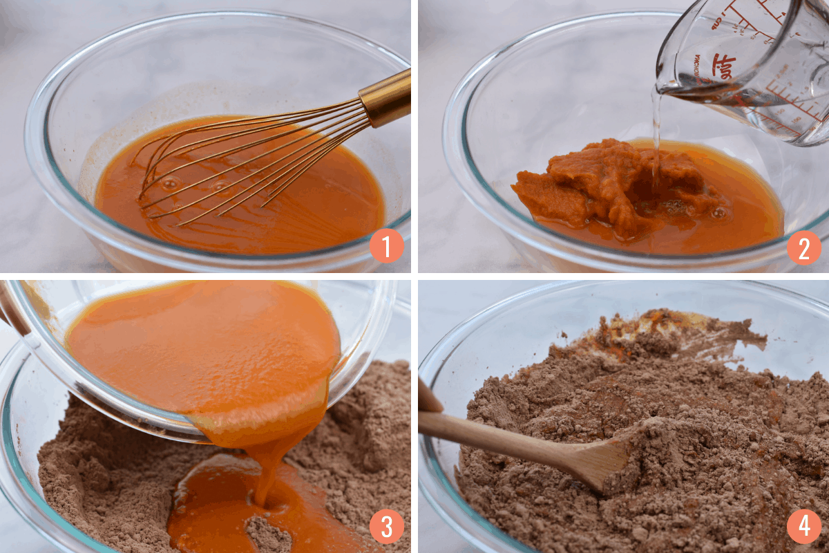 collage of four images showing mixing of wet and dry ingredients for muffin batter