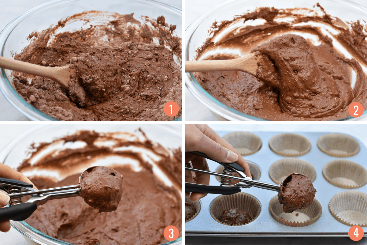 collage of 4 images showing mixing of muffin batter