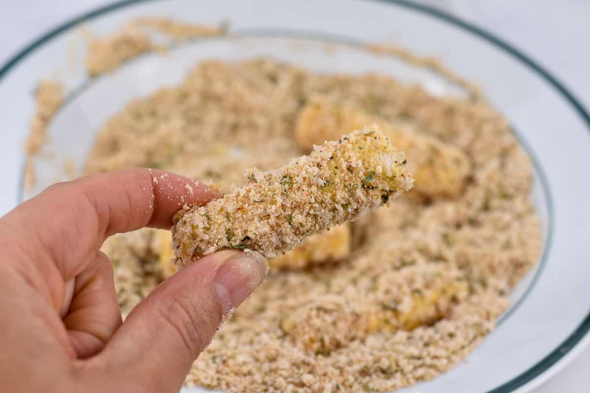 closeup of breaded mozzarella stick