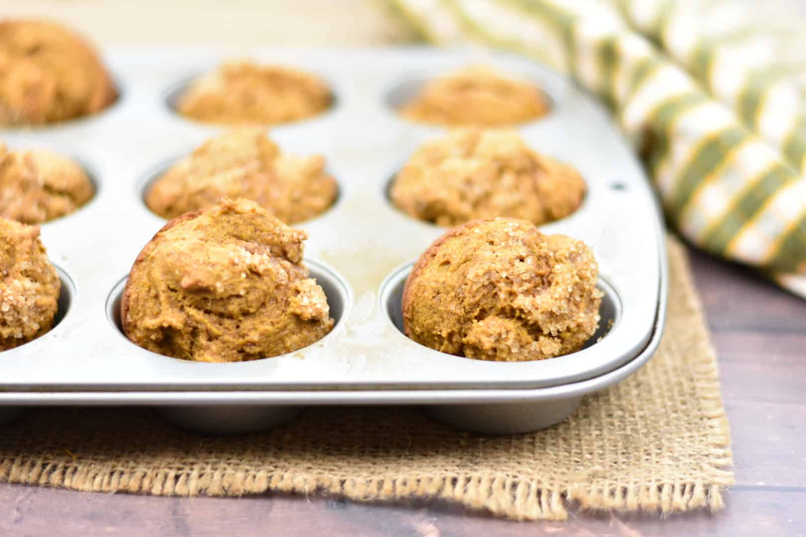 whole wheat pumpkin muffins finished baking in pan