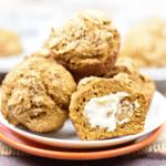 whole wheat pumpkin muffins closeup on plate