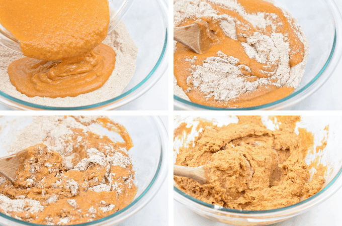 process shot of mixing batter for whole wheat pumpkin muffins