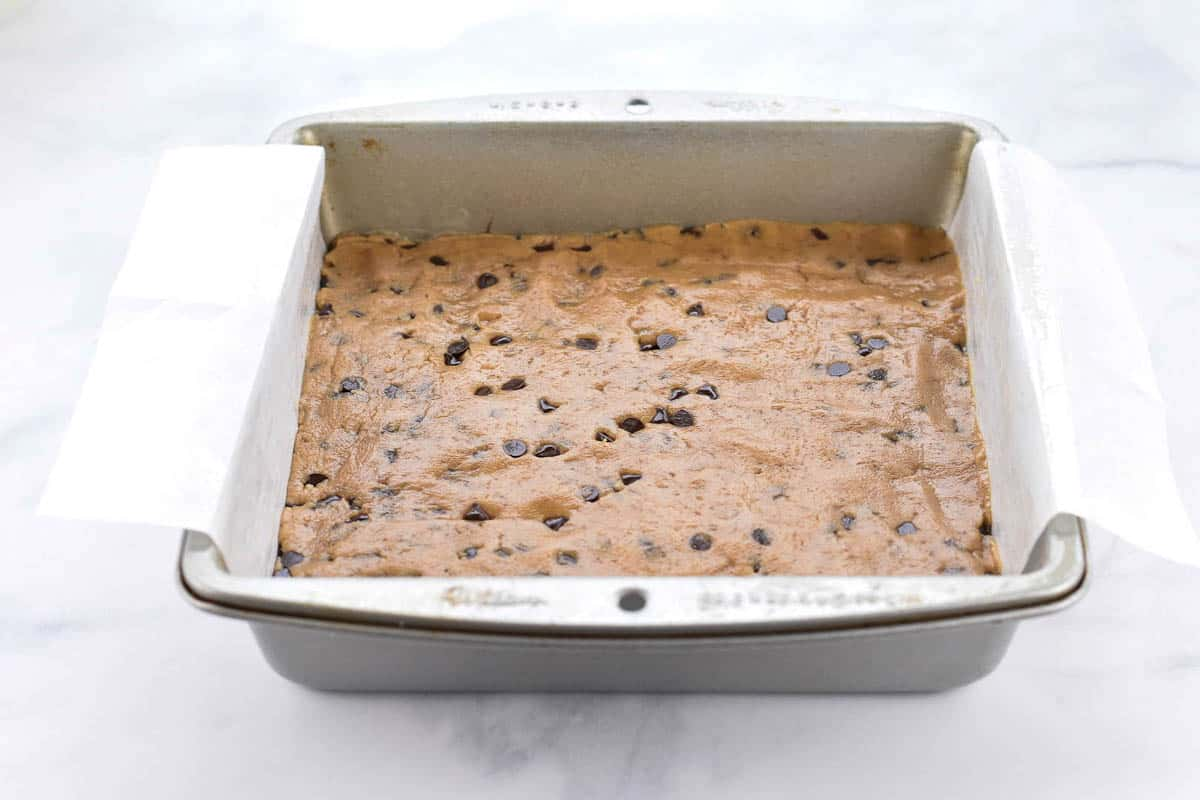 cookie butter batter in the pan