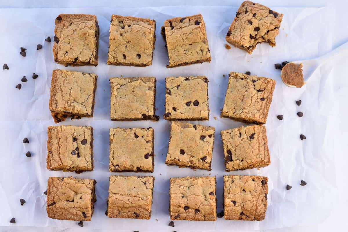 chocolate chip cookie butter blondies show from above