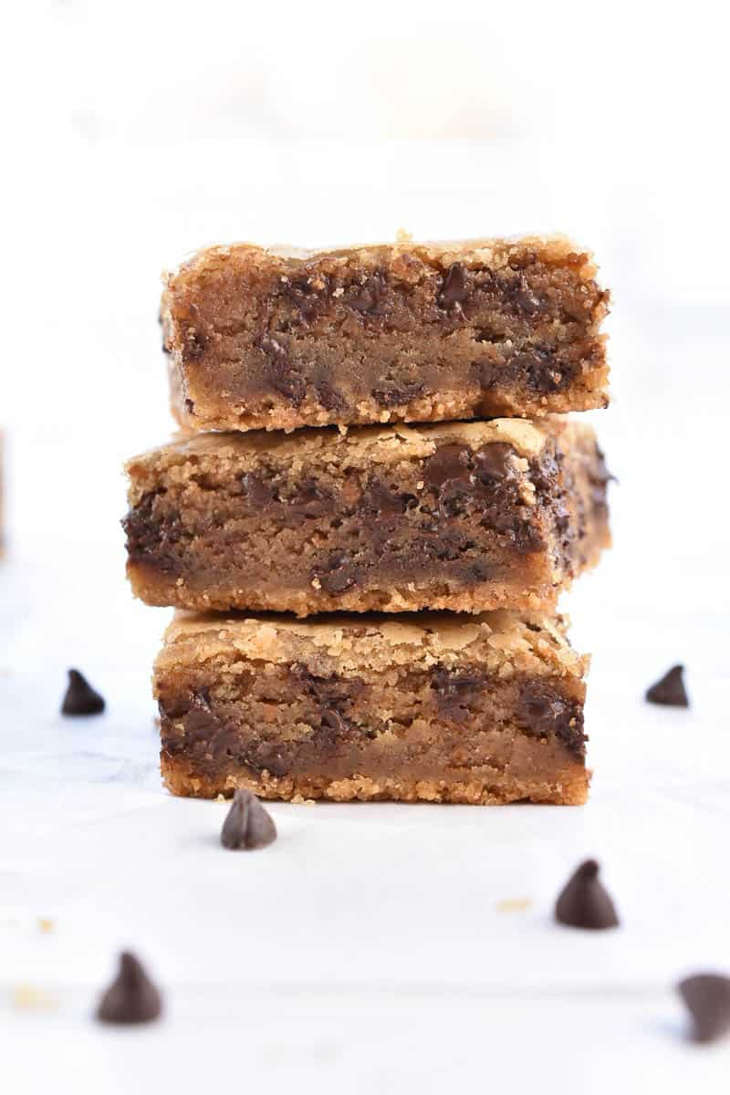 chocolate chip cookie butter blondies stacked three high