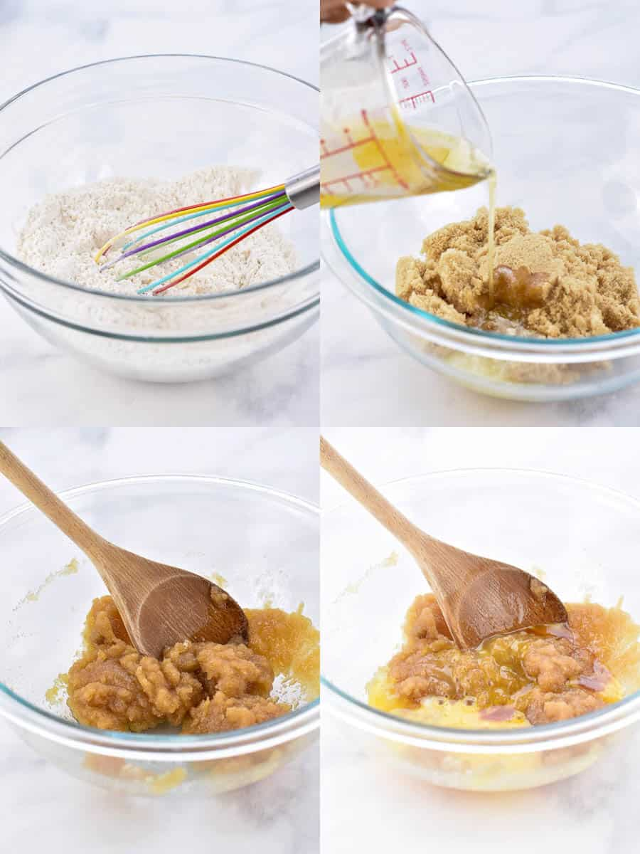 collage of four images of cookie butter batter being prepared