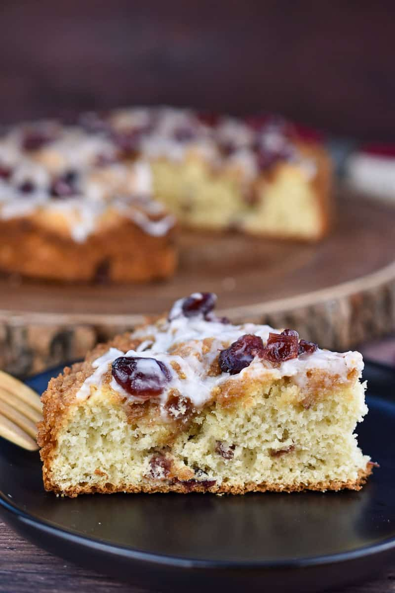 dried cranberry coffee cake on a plate