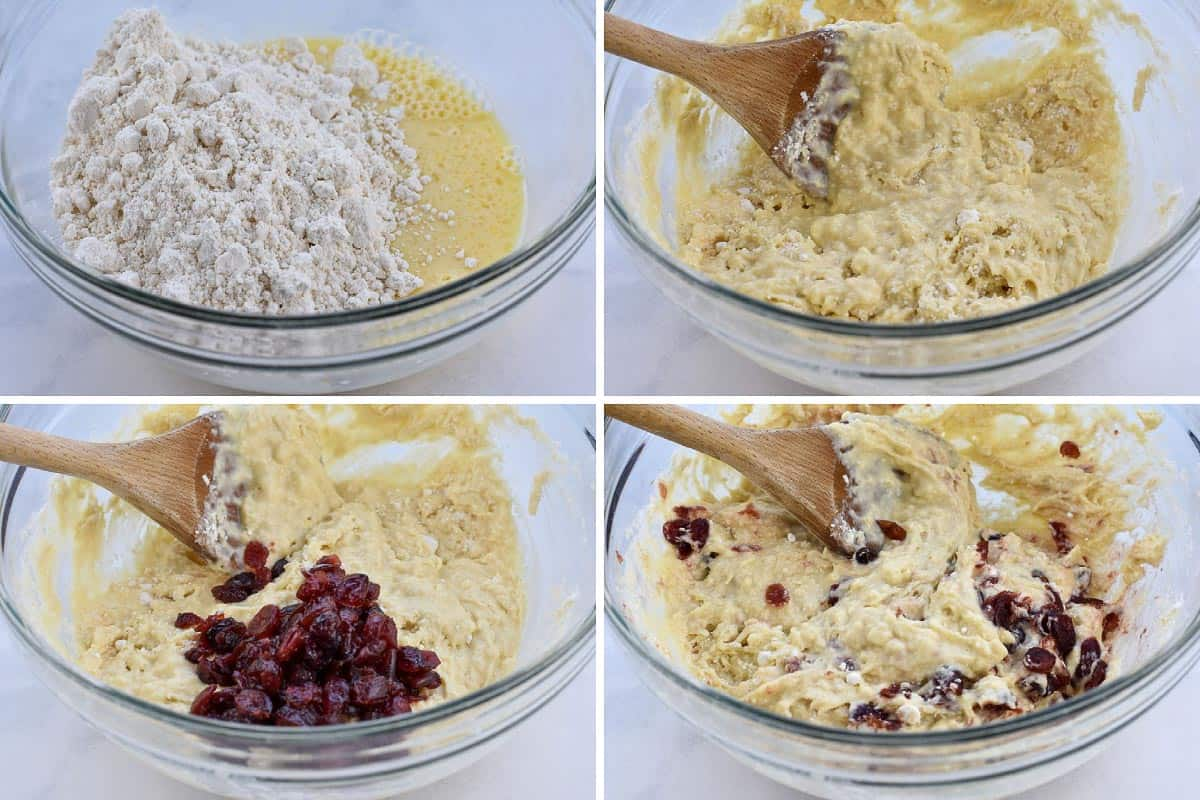 collage of four pictures showing mixing of batter