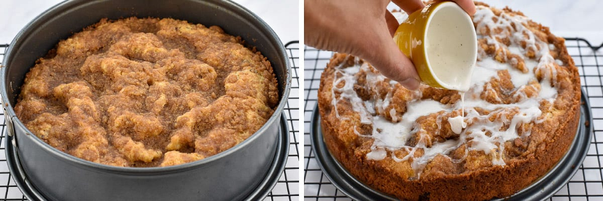collage of two photos showing hand pouring icing
