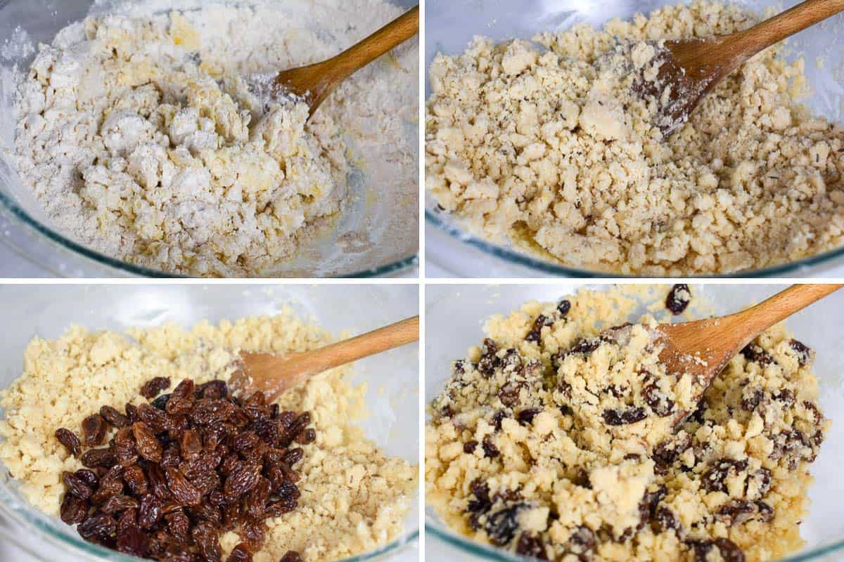 collage of four images showing cookie dough batter being mixed