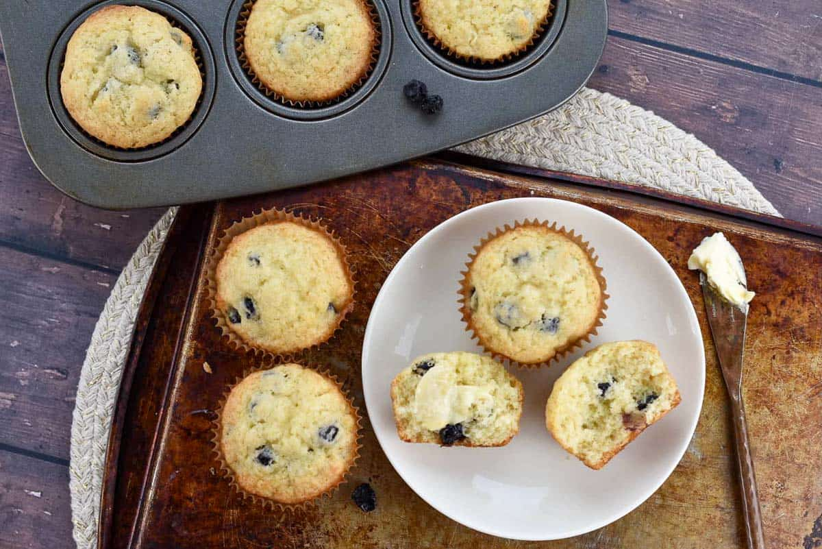 jiffy blueberry muffin copycat recipe photo from above