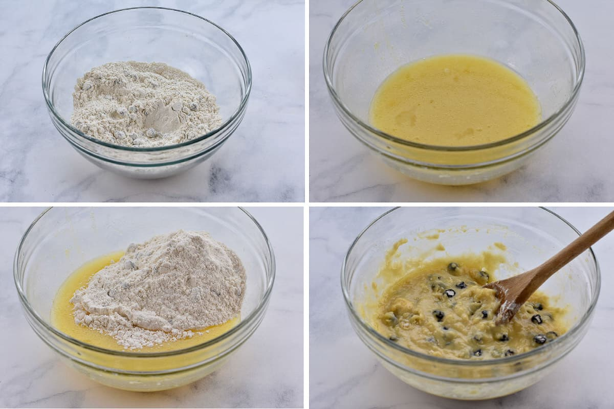 photo collage of four pictures showing mixing of muffin batter