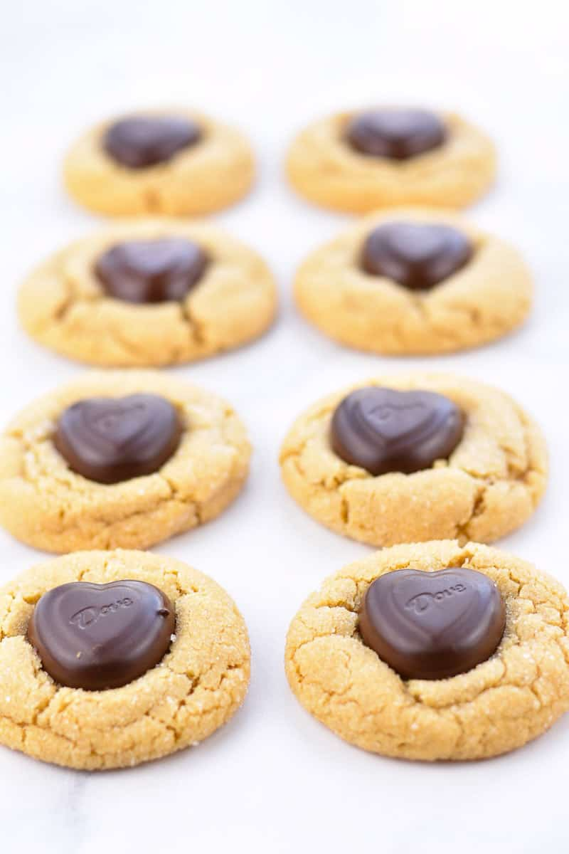 peanut butter heart cookies on counter