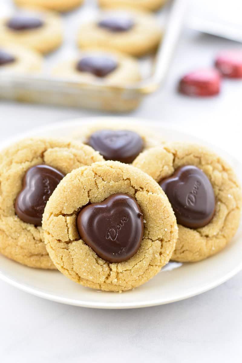 closeup of peanut butter heart cookies on a plate