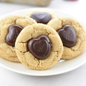 closeup of peanut butter heart cookies