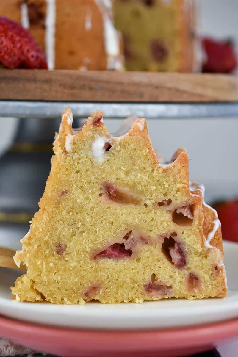 closeup slice of strawberries and cream bund cake