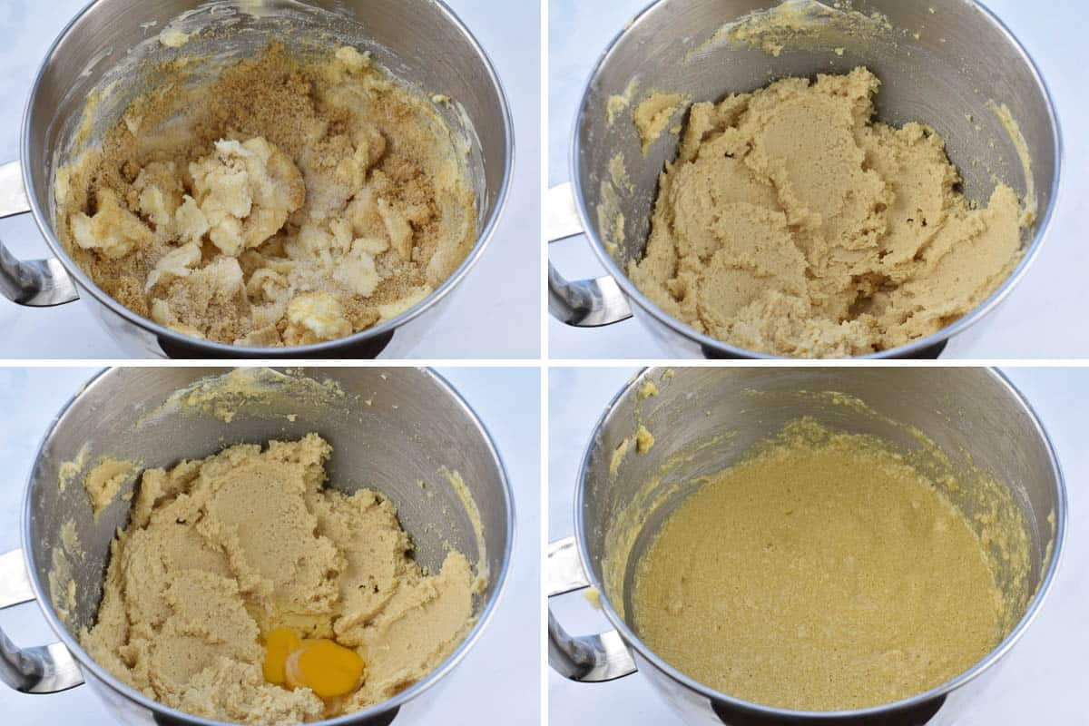 collage of four photos showing creaming of butter and sugar with eggs